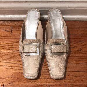 f709db1cf0aca Escada Shoes | 90s White Leather Minimalist Mules | Poshmark